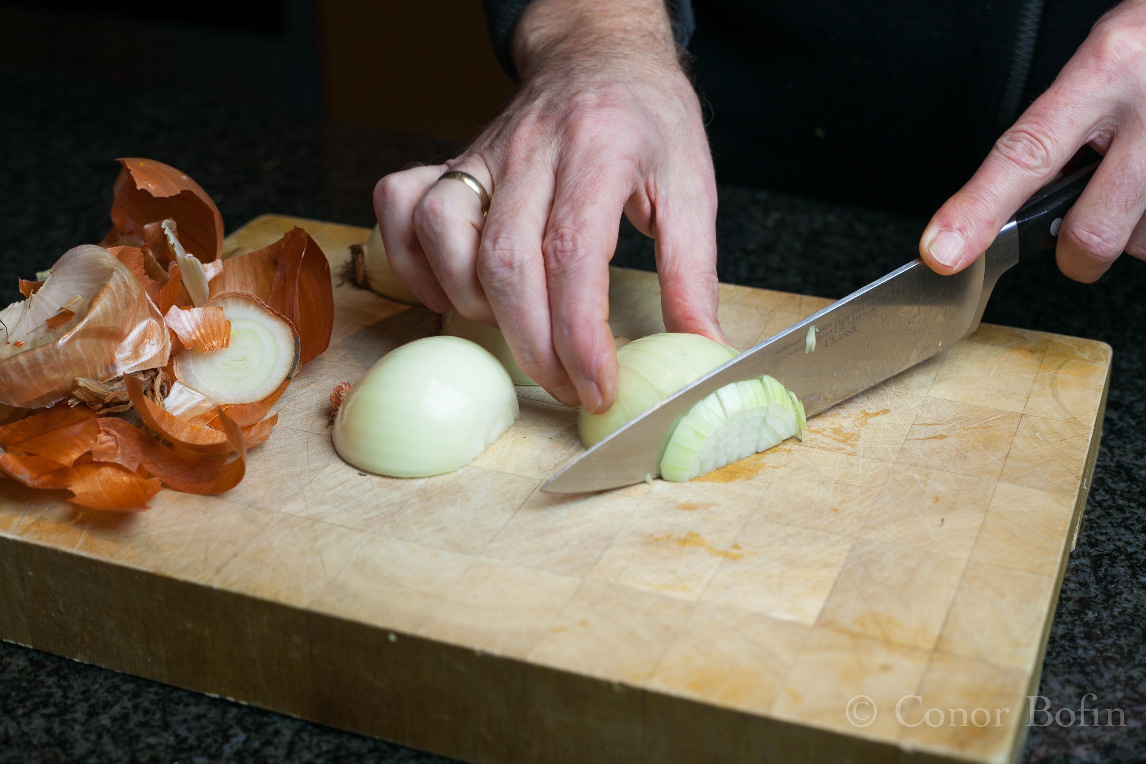 Cutting an onion