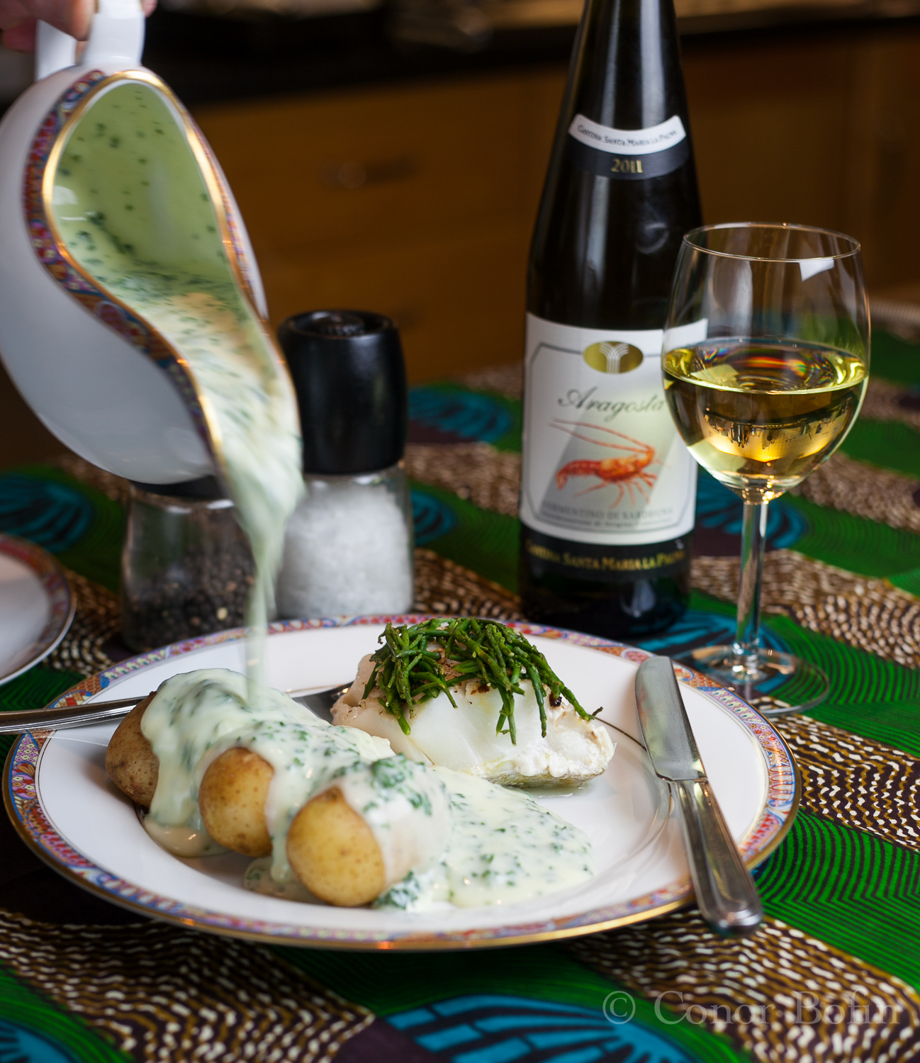 Baked Cod and Parsley Sauce