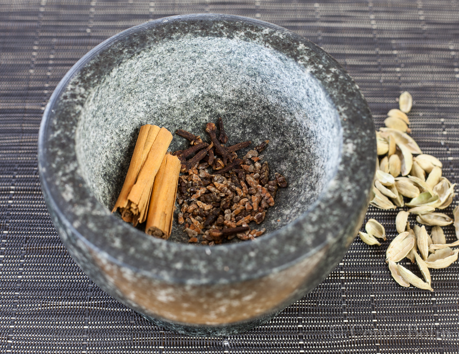 Spices in a mortar