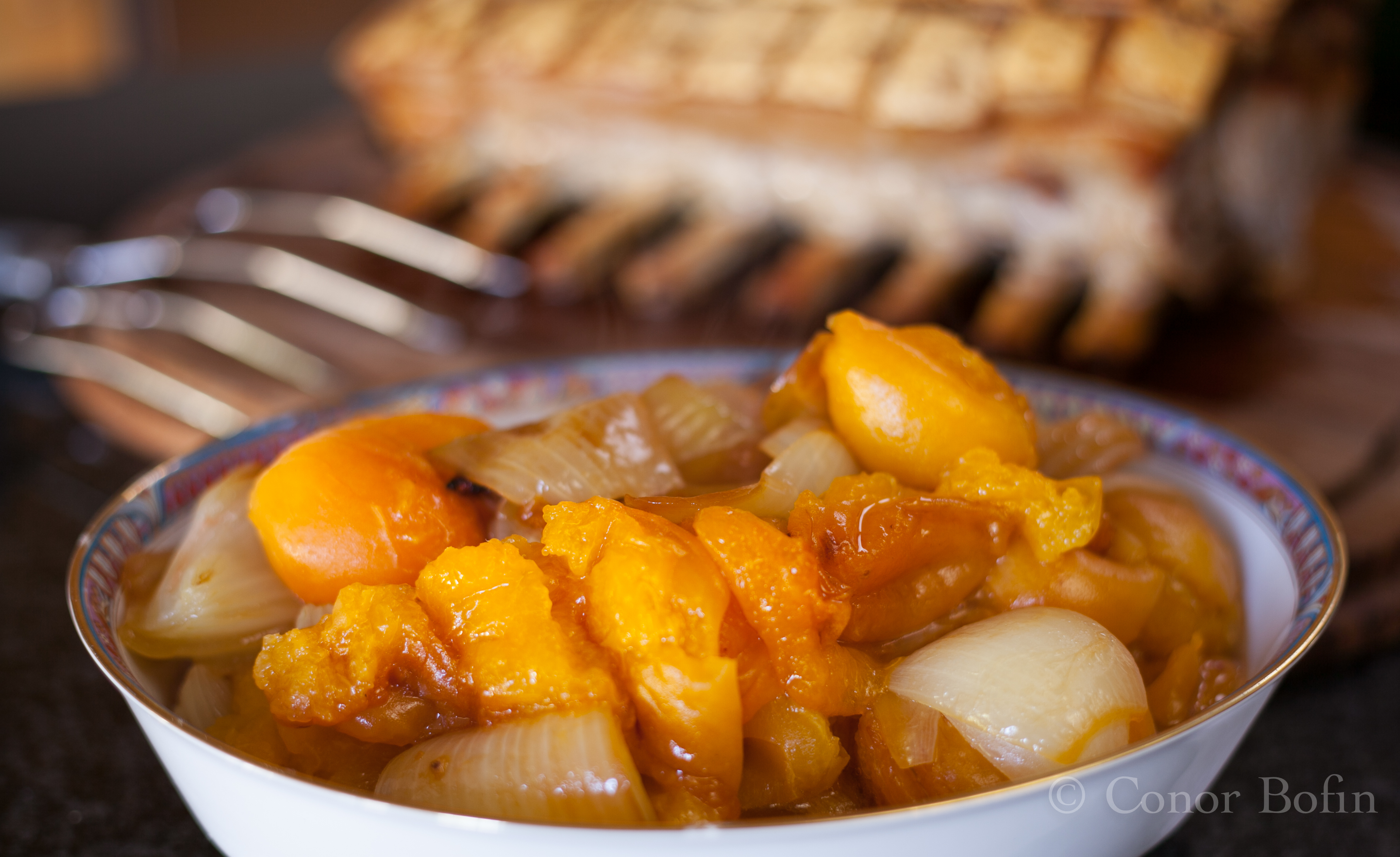 The pork fat combines with the carmelised onion and apricot to produce awesome flavours.