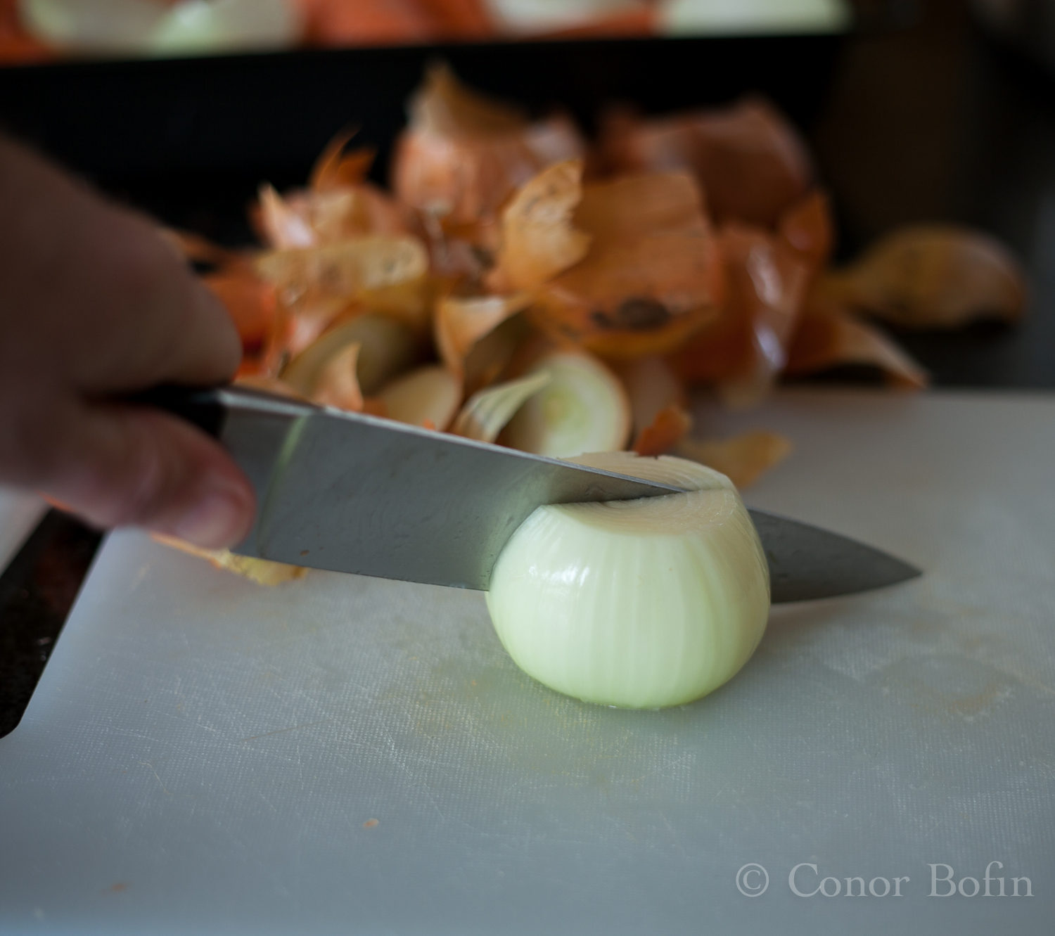 Onion being chopped roughly.