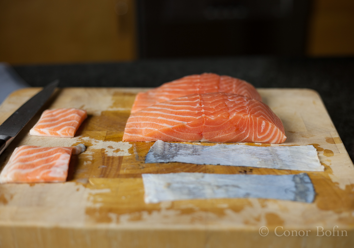A gratuitous skin and salmon bits shot. Why not?