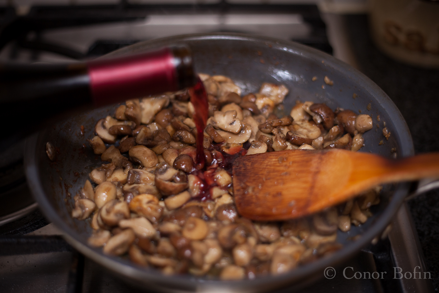 Yes I used the wine in the mushrooms. It helps marry the flavours.