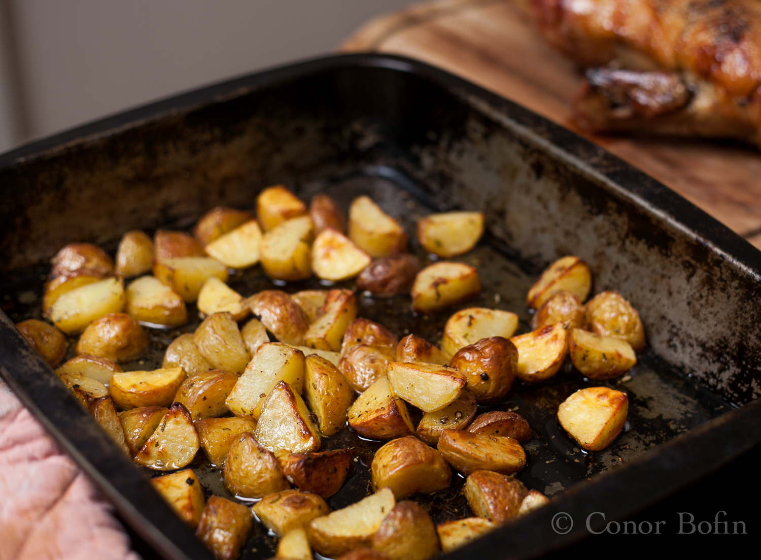 A delicious side dish of potatoes roasted in duck fat.